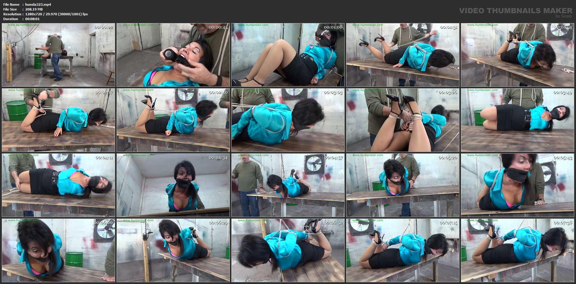 [HUNTERSLAIR] Slammed onto his table and brutally hogtied. Featuring: Gigi [HD][720p][MP4]