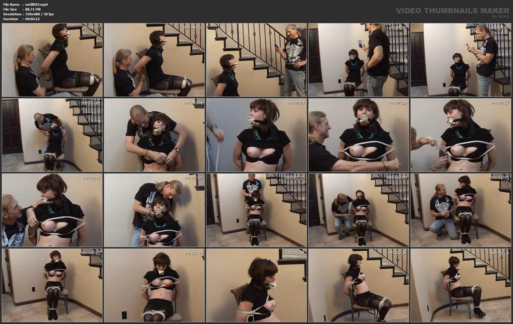 [DAMSEL STYLE BONDAGE & BONDAGE SEX VIDEOS] Sexy Blonde Chloe Held Ransom in Miniskirt & Thigh-High Stockings. Featuring: Chloe Night [SD][480p][MP4]